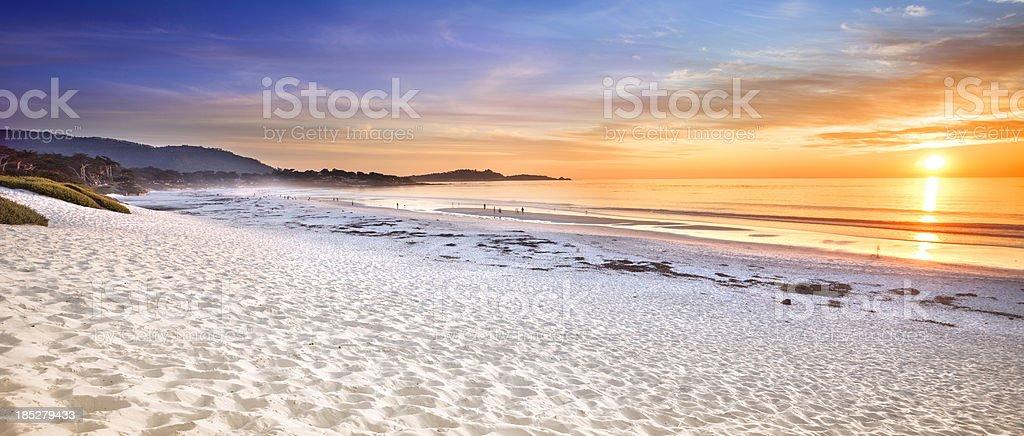Carmel Beach panoramic in Carmel-by-the-Sea stock photo