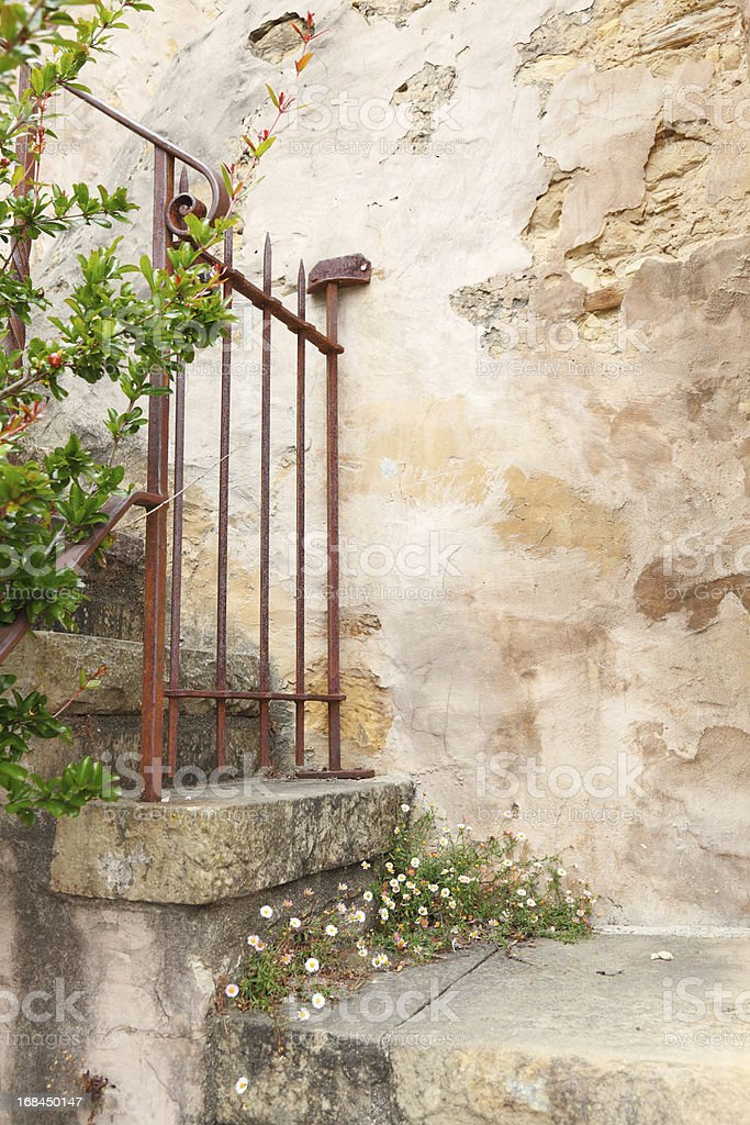 Carmel Mission stairs with flowers royalty-free stock photo