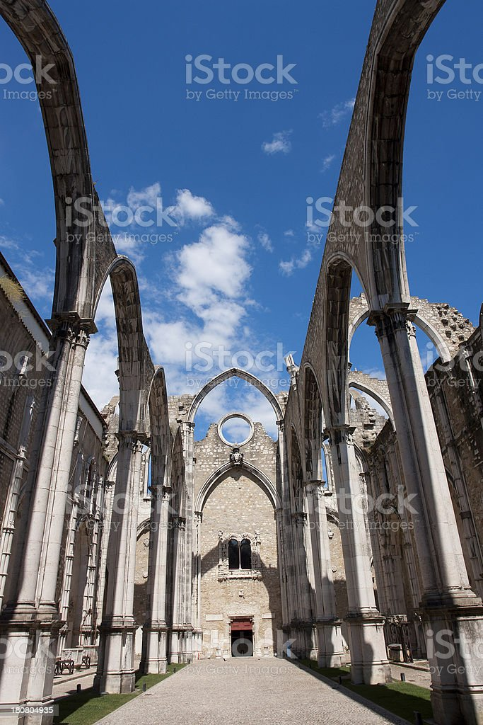 Carmo Church Ruins in Lisbon, Portugal royalty-free stock photo