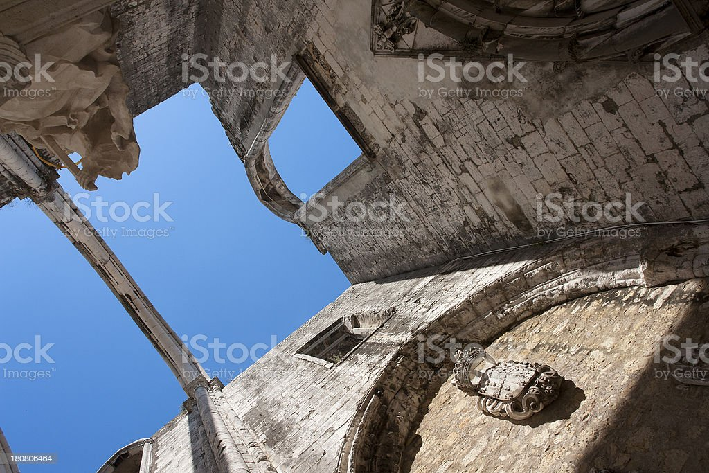 Carmo Church Ruins in Lisbon, Portugal royalty-free stock photo