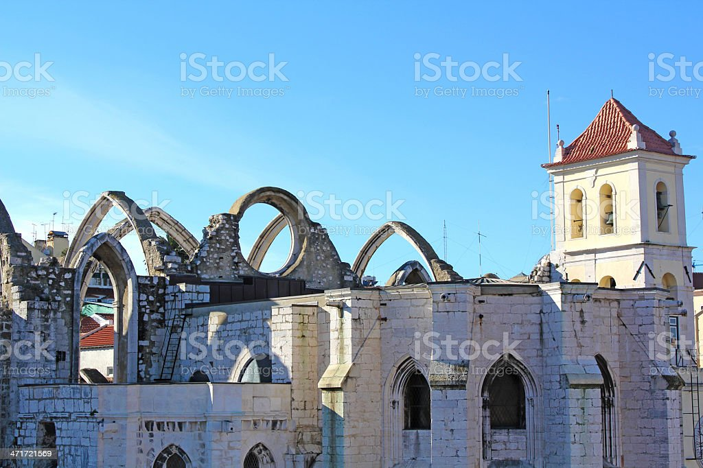 Carmo Convent in Lisbon stock photo