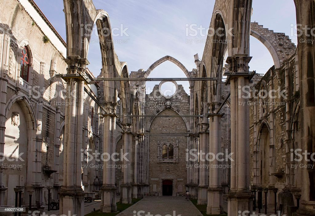 Carmo Convent in Lisbon, roofless stock photo