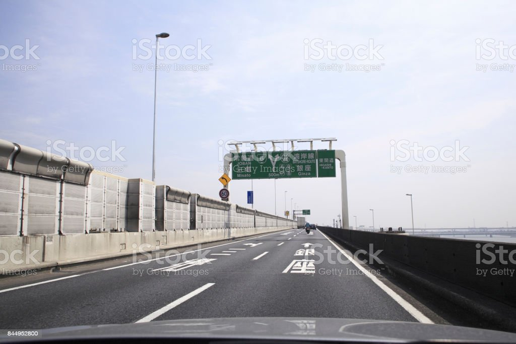 Car-mounted camera road running scene stock photo