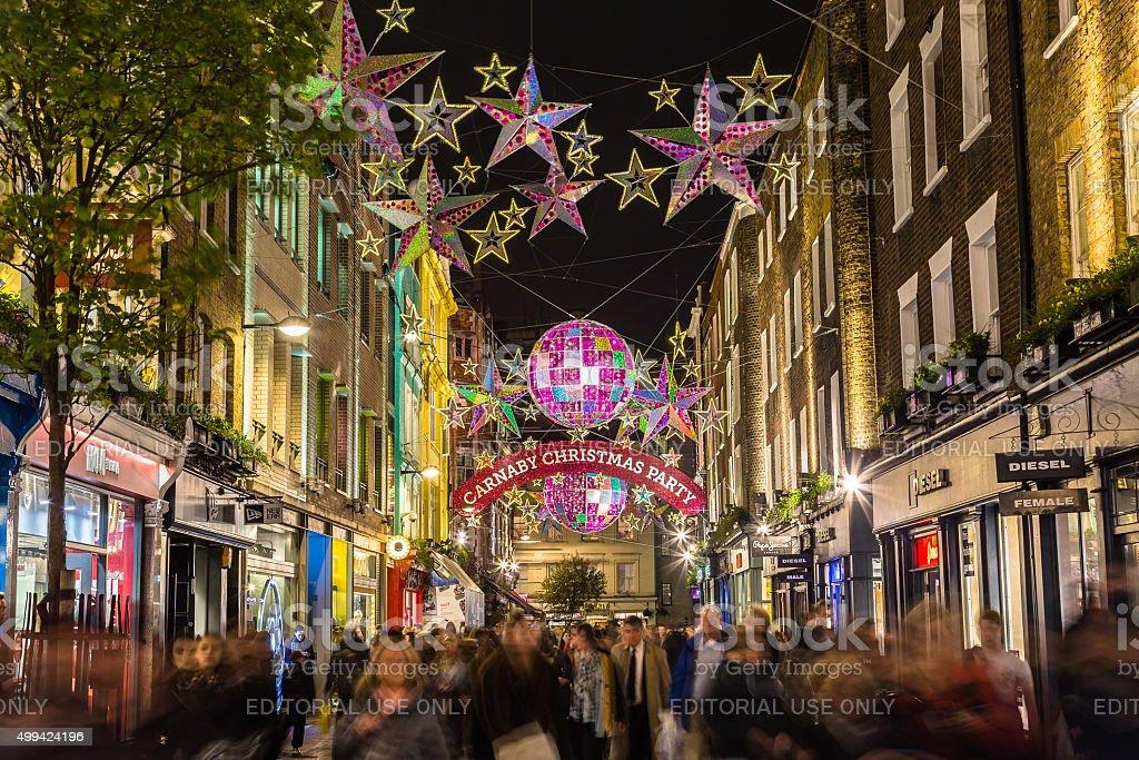 Carnaby Street at Christmas stock photo