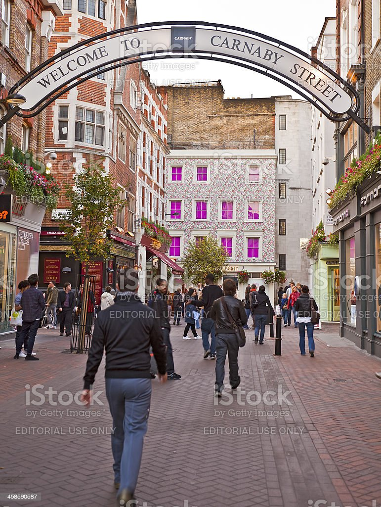 Carnaby Street, Soho, London- pedestrianised shopping/lifestyle shops stock photo
