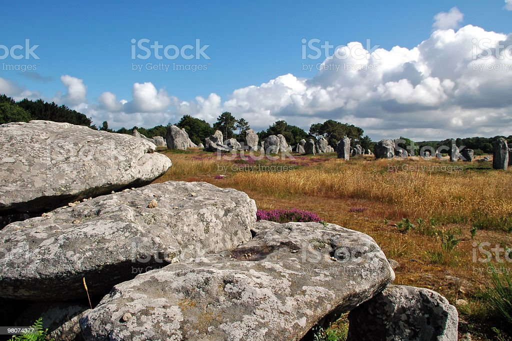 Carnac (Brittany) - Alignements, dolmens and menhirs stock photo