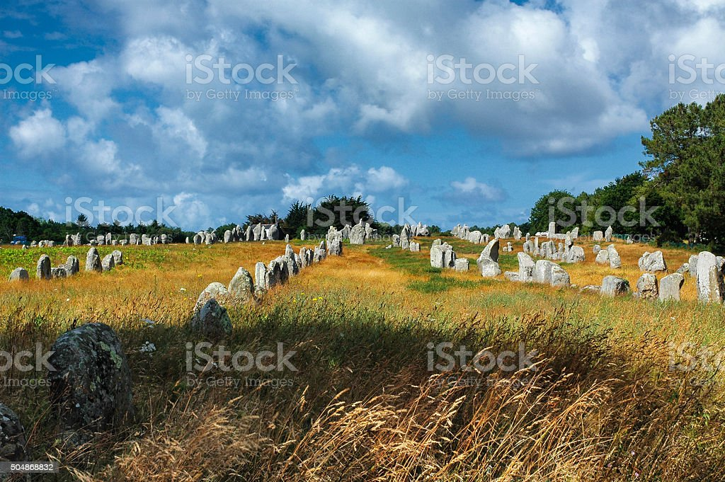 Carnac (Brittany, France): menhir and dolmen stock photo
