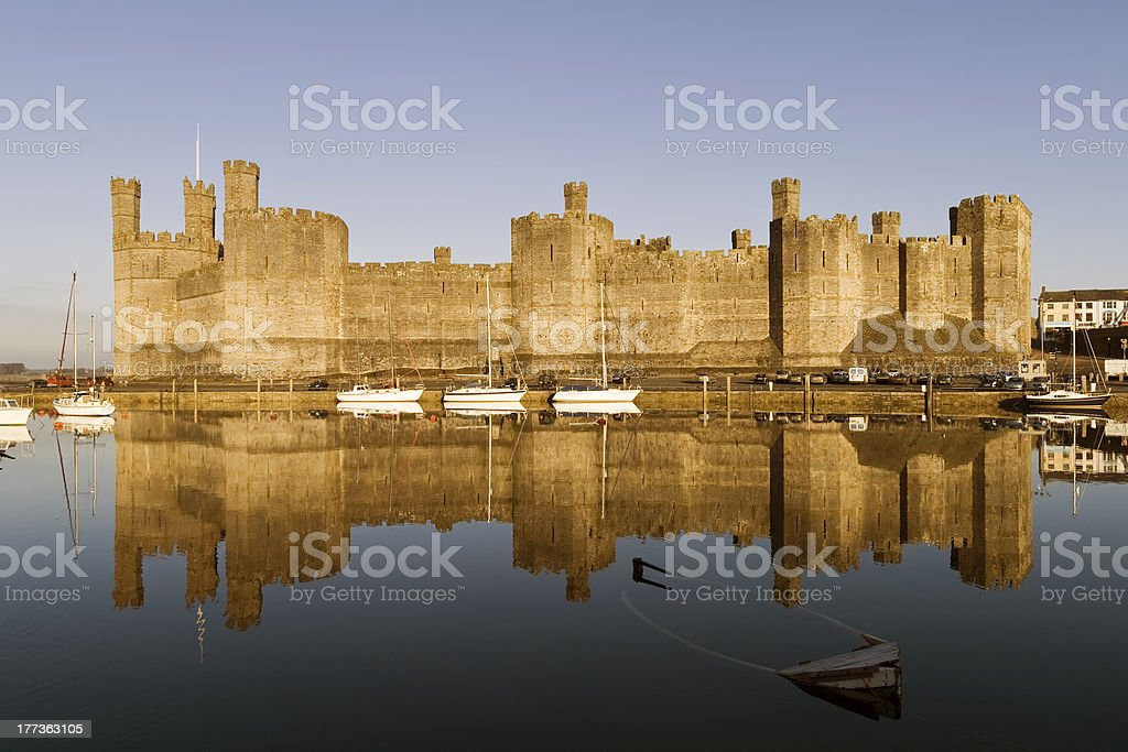 Carnarvon Castle, North Wales stock photo