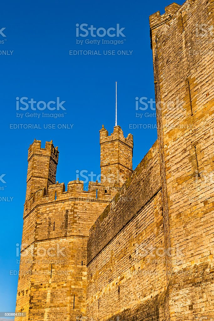 Carnarvon Castle North Wales stock photo