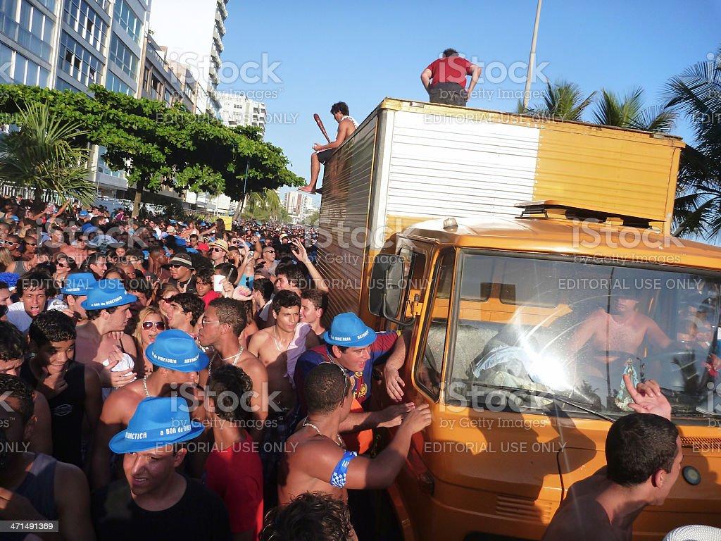 Carnaval Rio de Janeiro Brazil Bloco Street Party Crowd Truck royalty-free stock photo