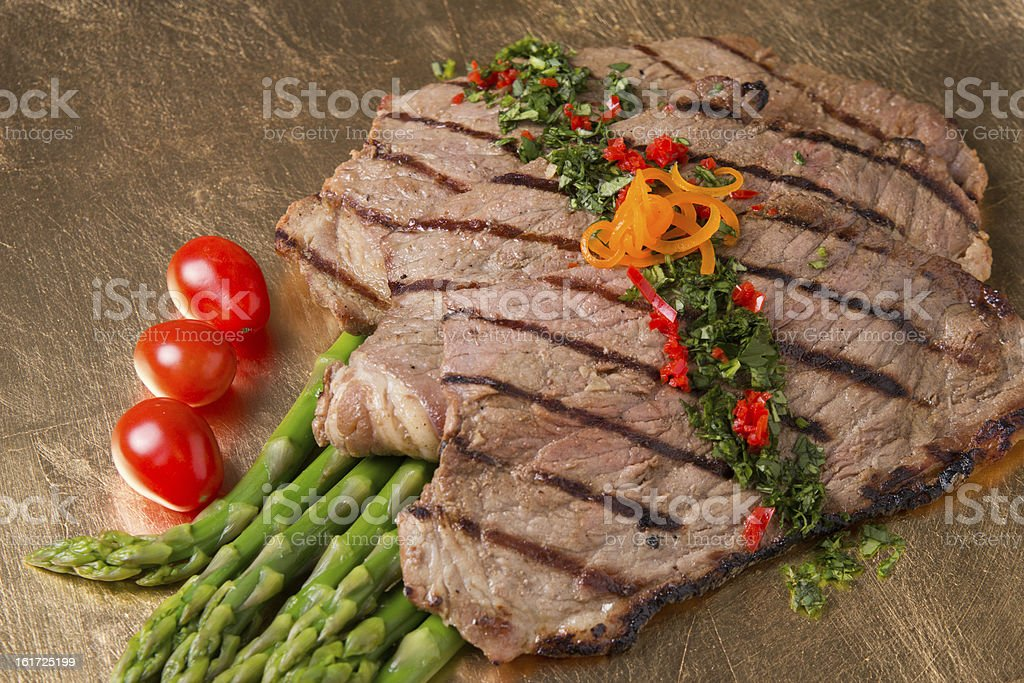 Carne Asada with Tomatoes and Asparagus stock photo