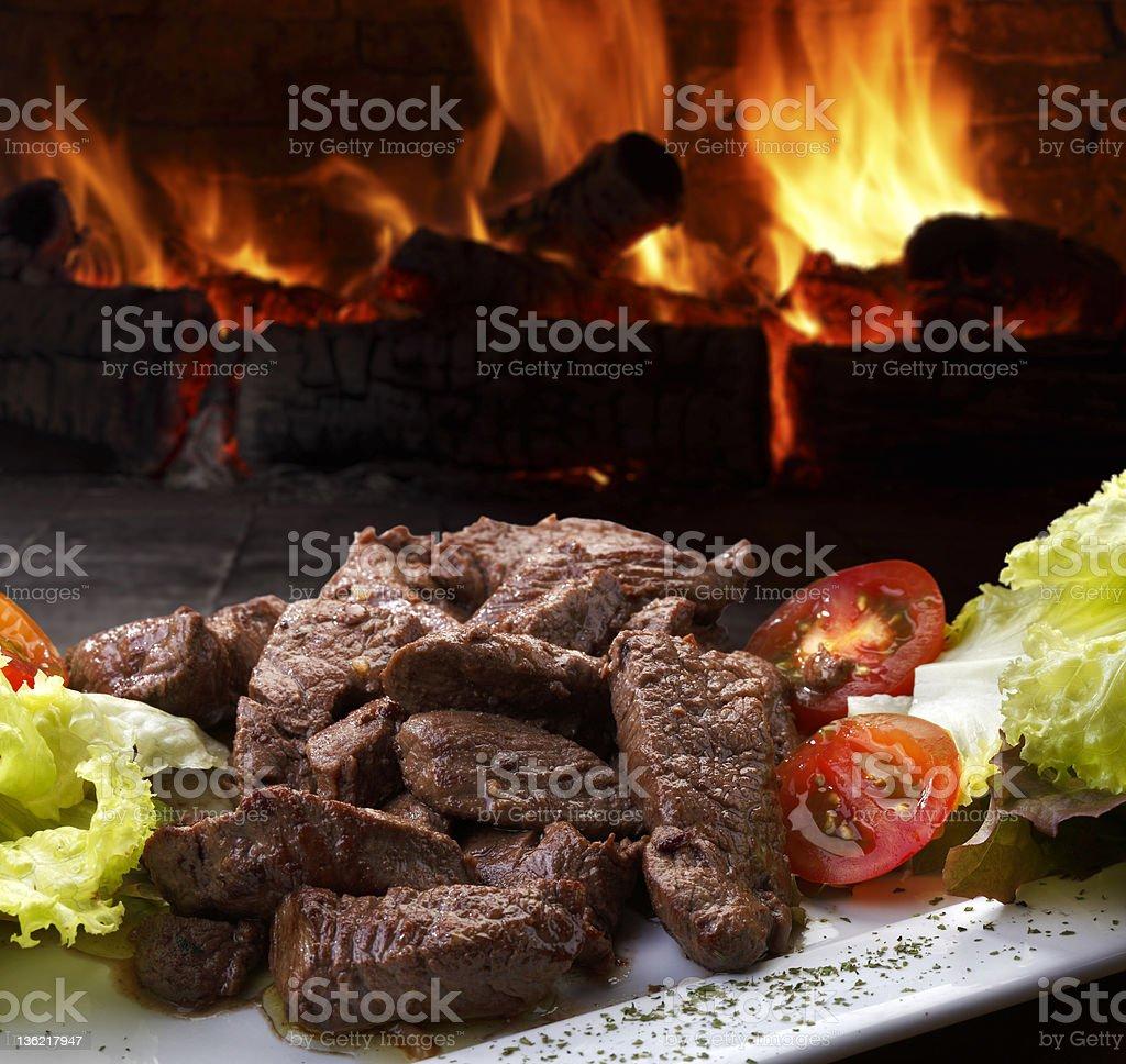 Carne com salada royalty-free stock photo