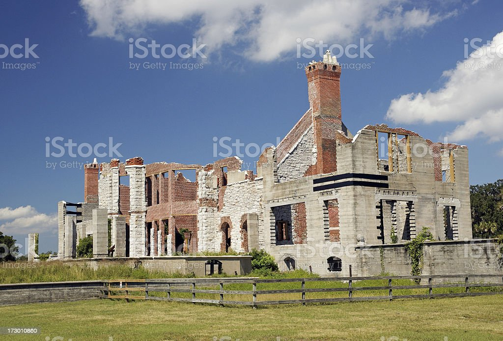 Carnegie Mansion Ruins on Cumberland Island Georgia stock photo