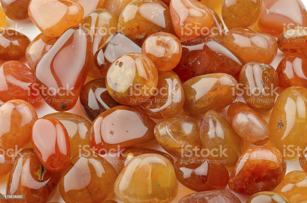 Carnelian - half precious stone. guaranteed authentic stock photo
