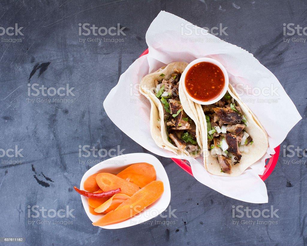 Carnitas Tacos and Salsa stock photo