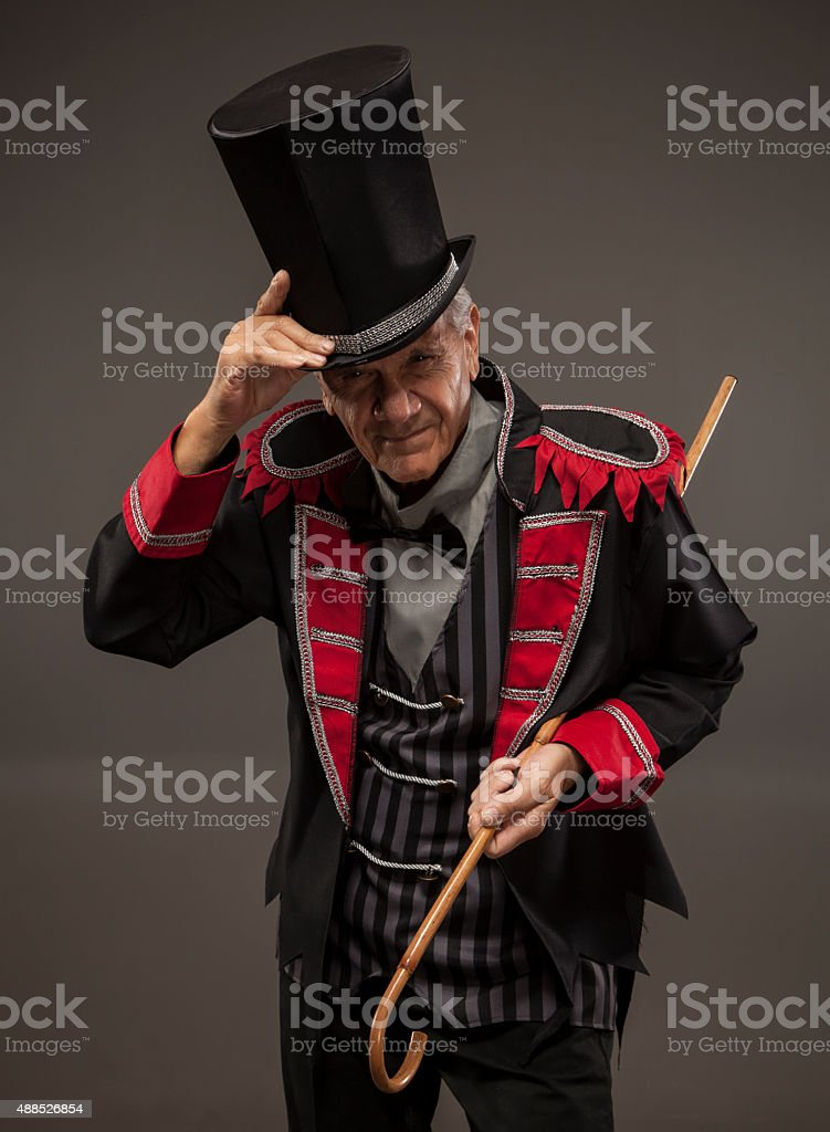 Carnival Barker tipping his hat. stock photo
