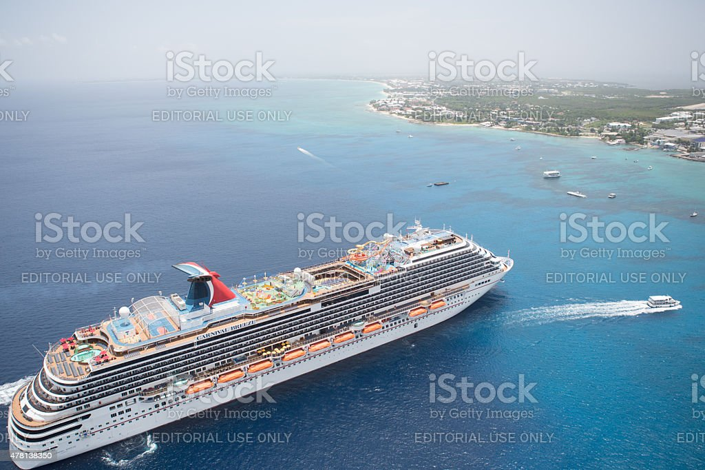 Carnival Breeze cruise ship anchored in George Town, Grand Cayman stock photo