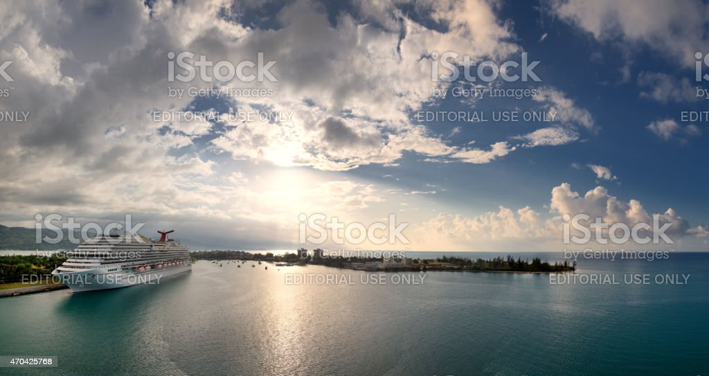 Carnival Breeze in MOntego Bay, Jamaica. Aerial panoramic view stock photo