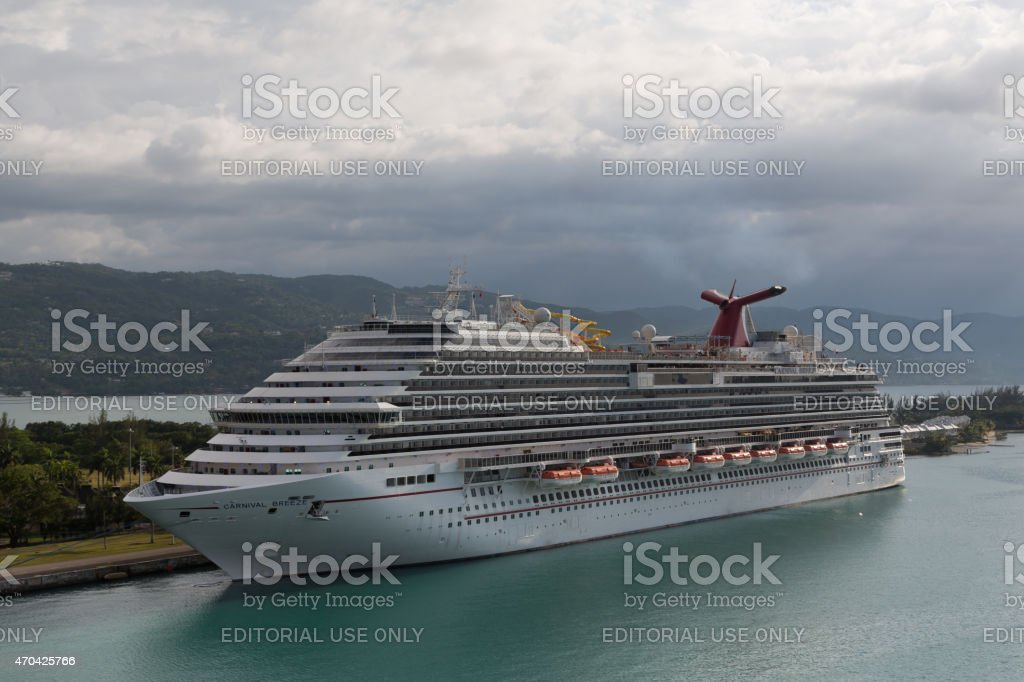 Carnival Breeze in Montego Bay, Jamaica. Aerial view stock photo