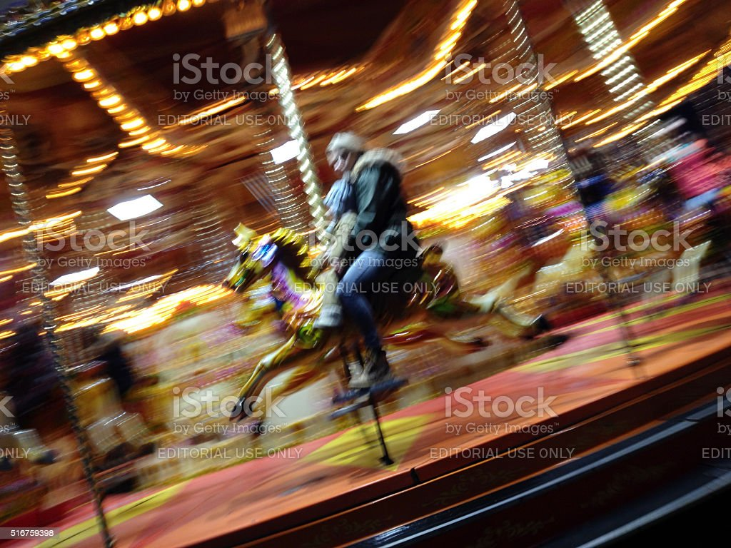 Carnival Carousel Merry-Go-Round motion blur stock photo