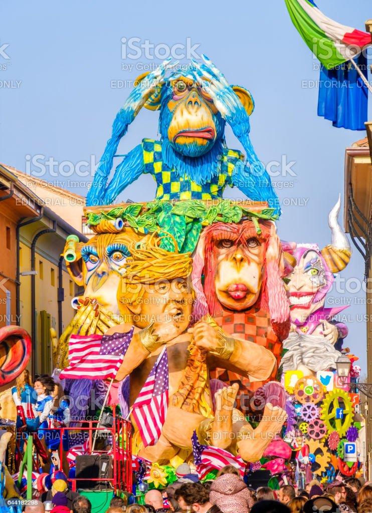 Carnival Cento satirical parade float  Donald Trump Tarzan monkeys parody stock photo
