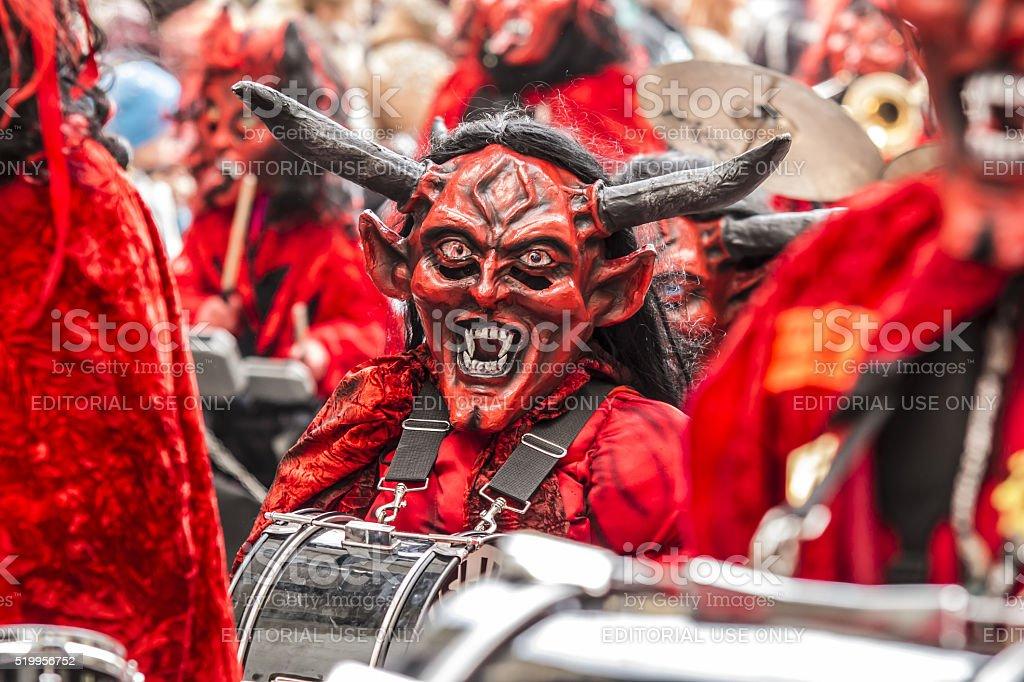 Carnival colorful Fastnachtsumzug parade in Switzerland stock photo