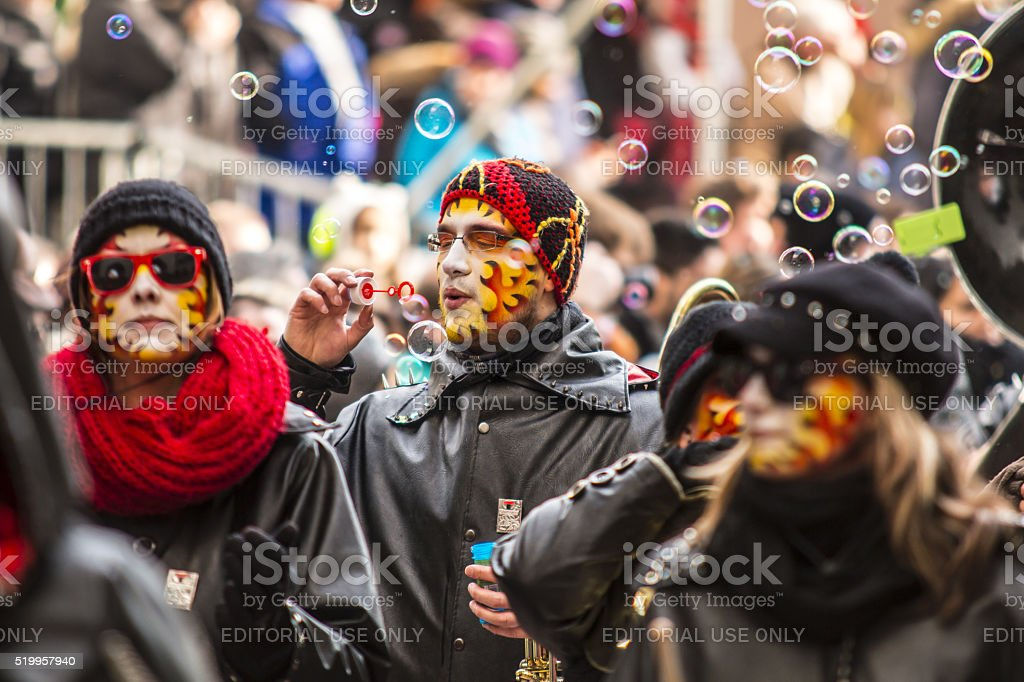Carnival colorful Fastnachtsumzug parade in Switzerland stock photo