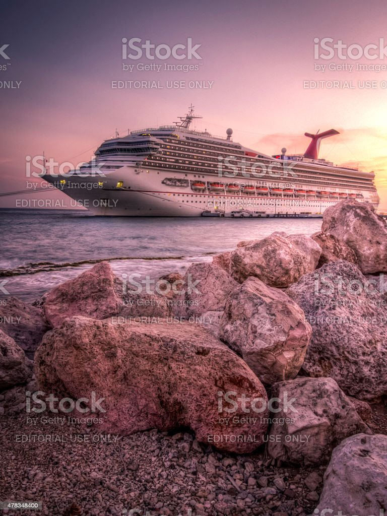 Carnival Conquest docked in Willemstad, Curacao stock photo