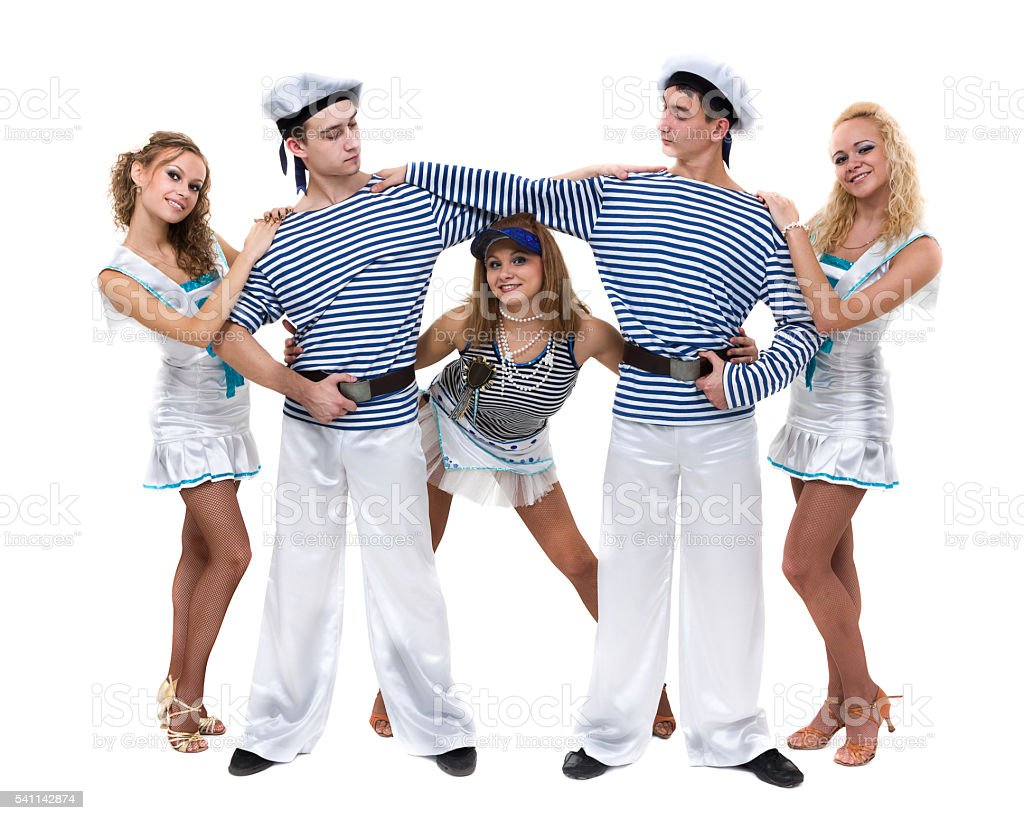 Carnival dancer team dressed as sailors. Isolated on white background stock photo