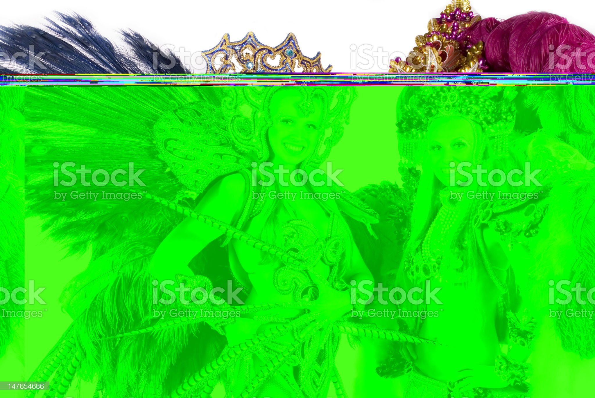 Carnival dancers in festival costumes and smiling royalty-free stock photo