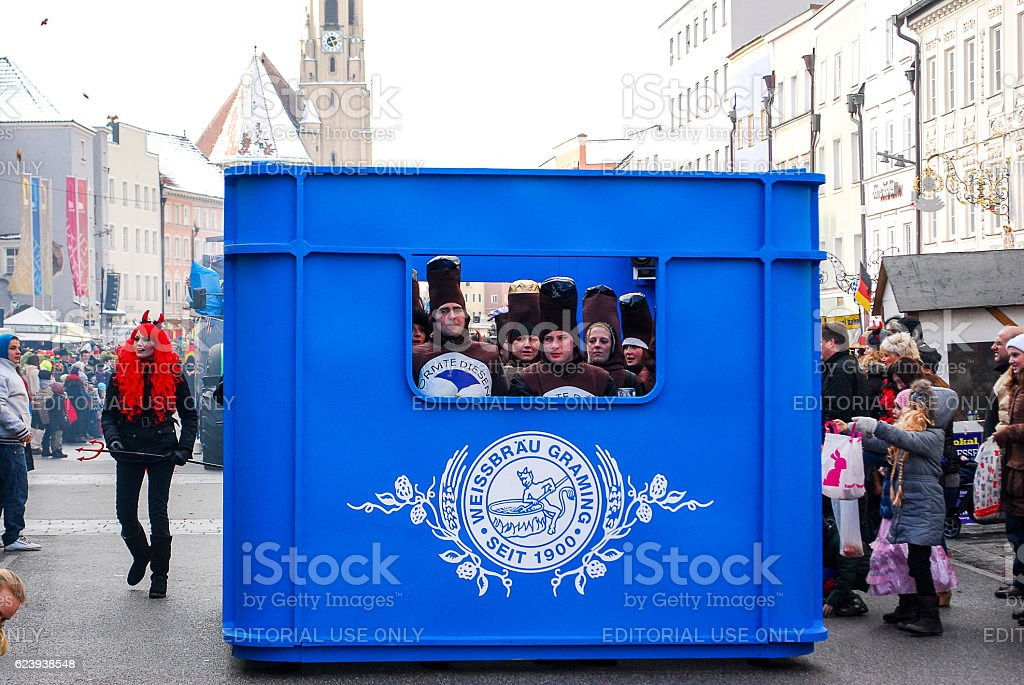 Carnival float approaches stock photo