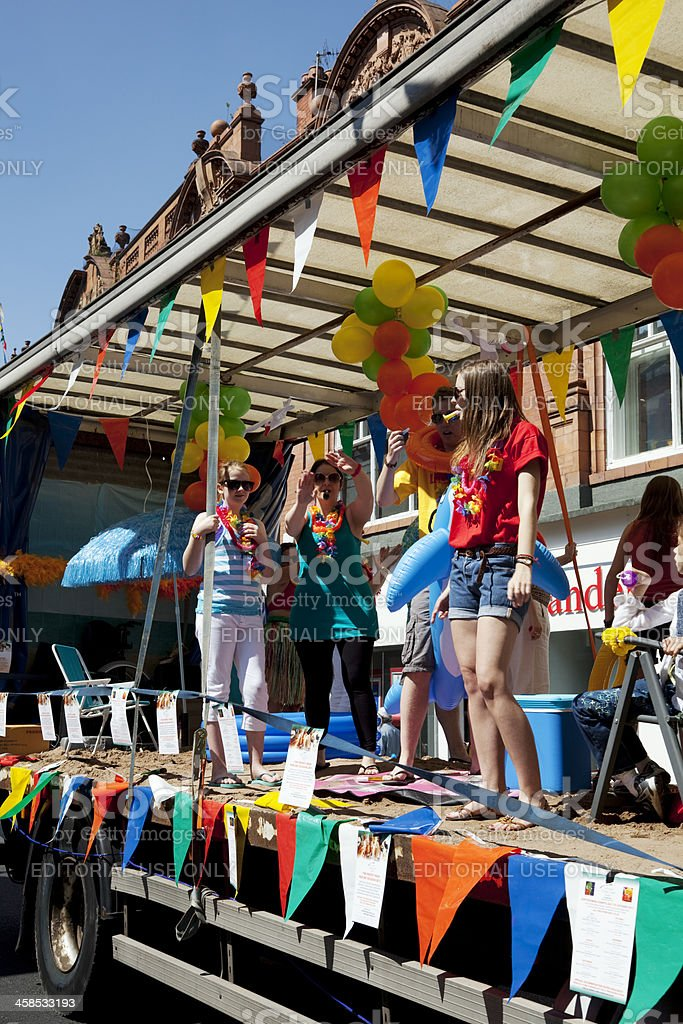 Carnival float with a beach theme stock photo