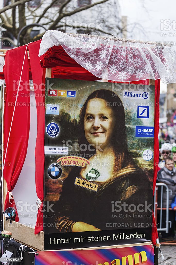 carnival float with political satire at Cologne carnival stock photo
