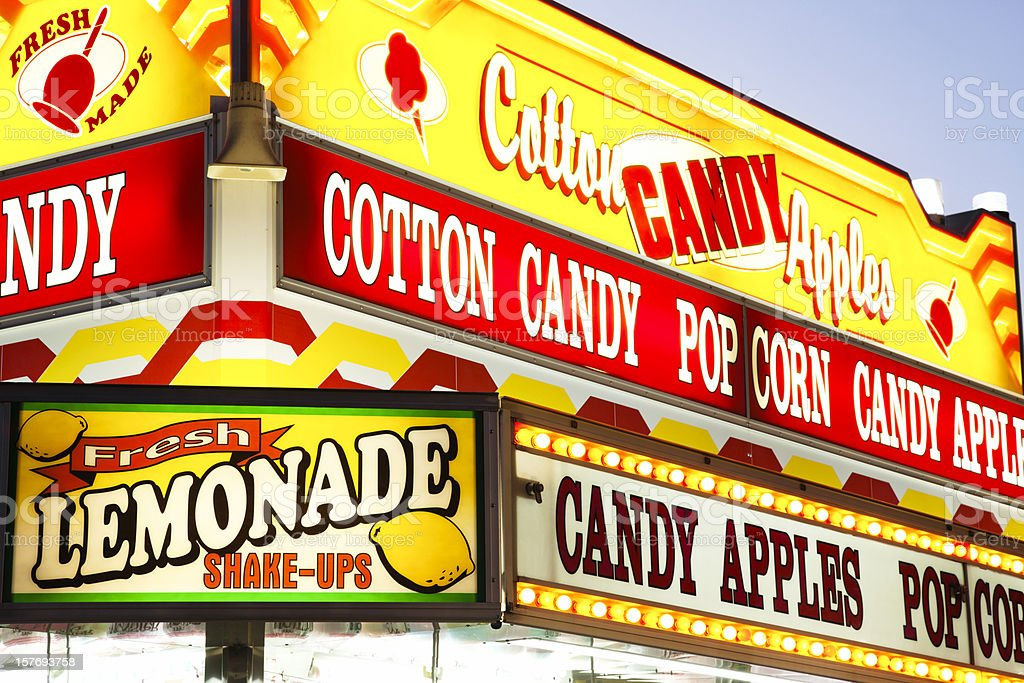 Carnival Food Concession Stand Sign at County Fair Amusement Park stock photo