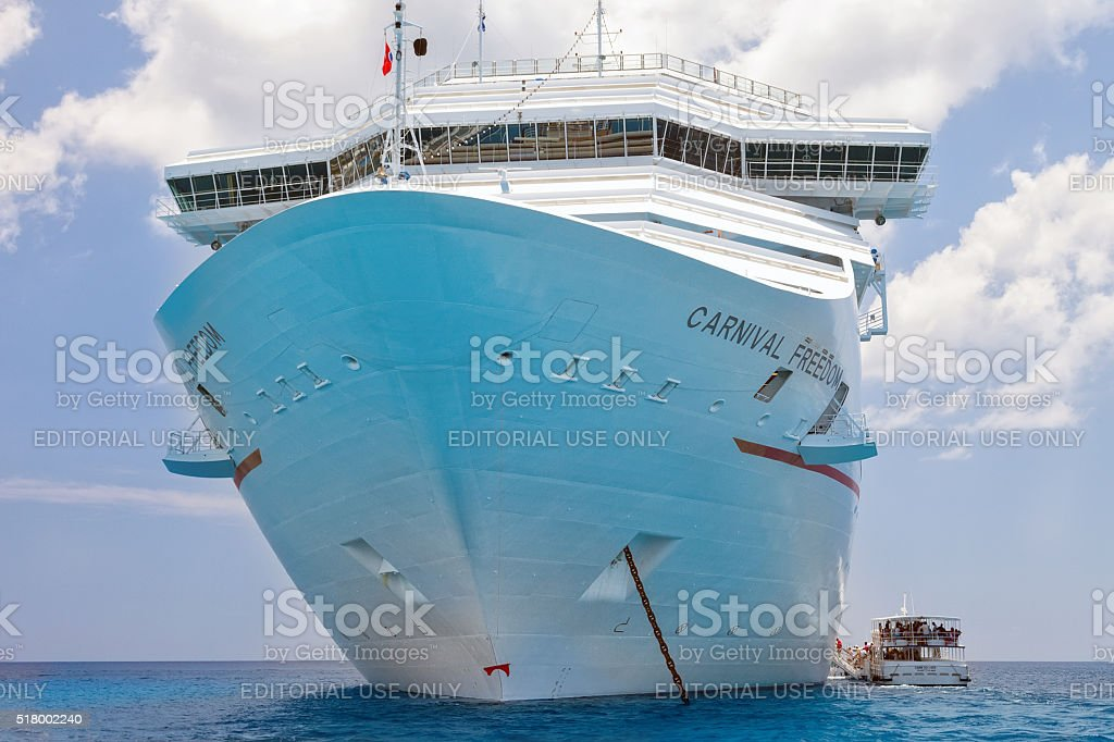 Carnival Freedom Ship Anchored in the Caribbean stock photo