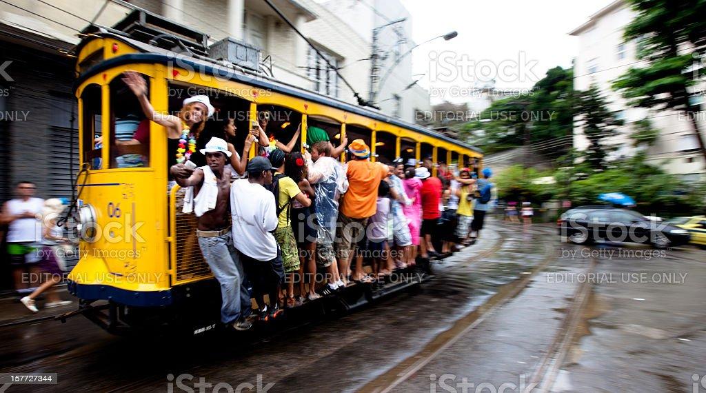 Carnival goers on the Santa Teresa trolley in Rio royalty-free stock photo