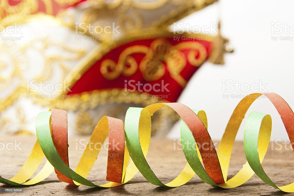 Carnival hat an streamers royalty-free stock photo