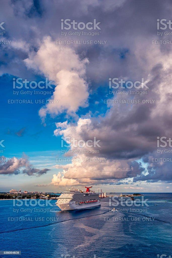 Carnival Magic Cruise Ship in Nassau, Bahamas stock photo