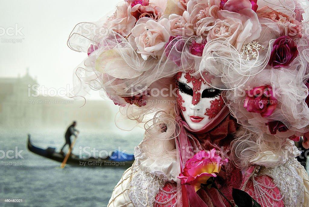 Carnival mask,  Princess of Rose , Venice stock photo