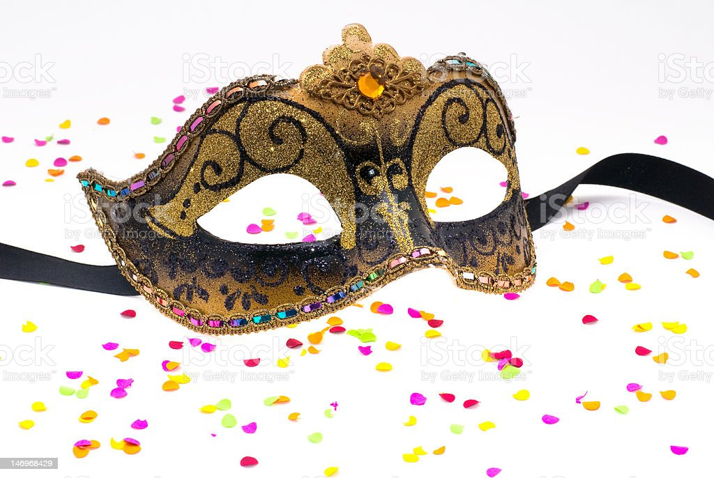 Carnival mask with confetti royalty-free stock photo