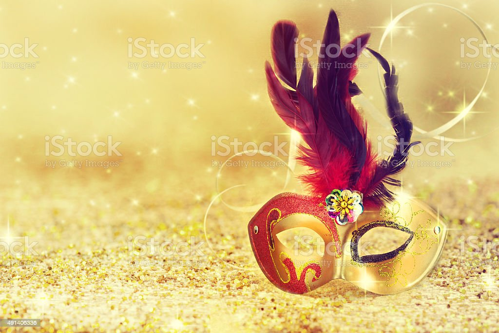 Carnival mask with glittering background. stock photo