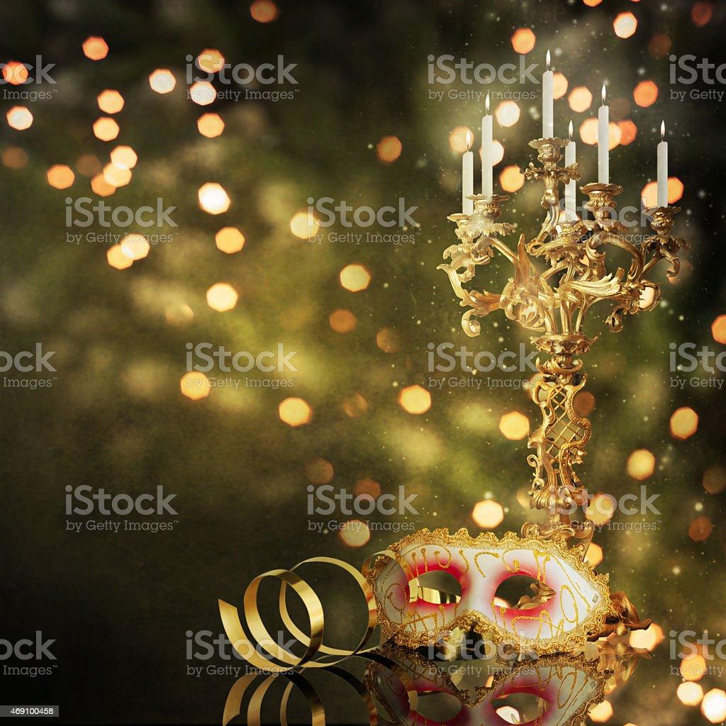Carnival mask with Vintage candelabrum stock photo