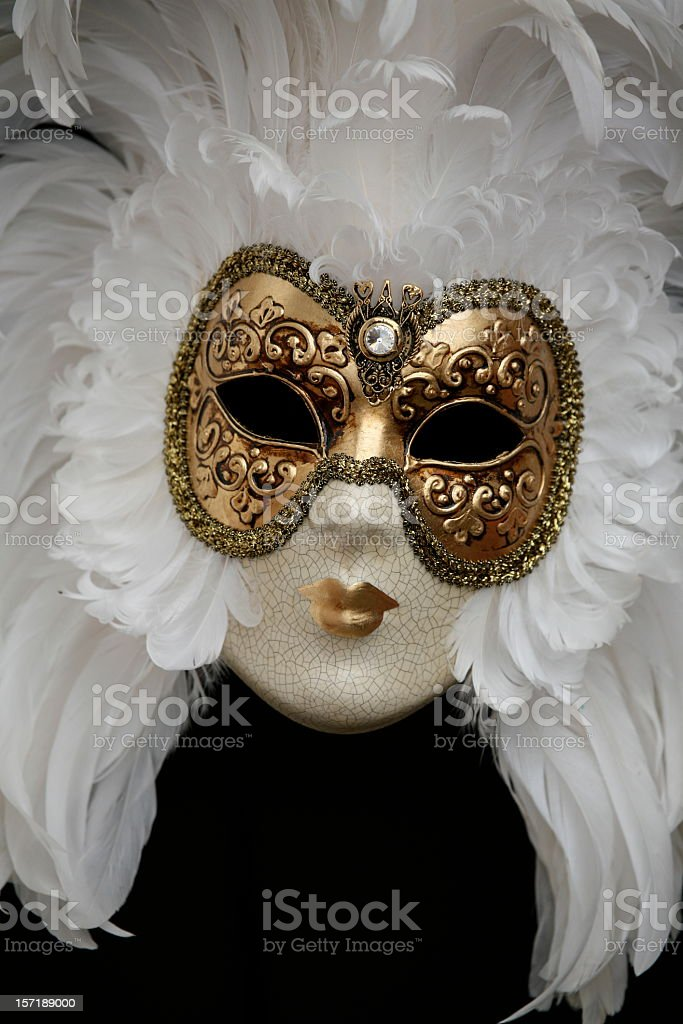 carnival mask:golden white beauty royalty-free stock photo