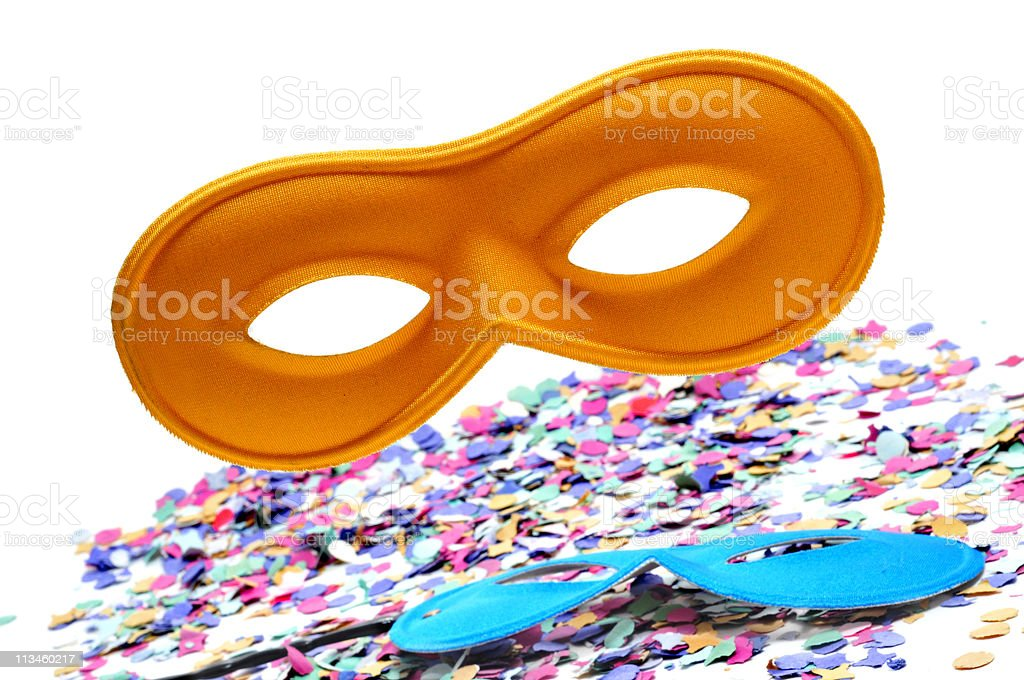 carnival masks and confetti stock photo