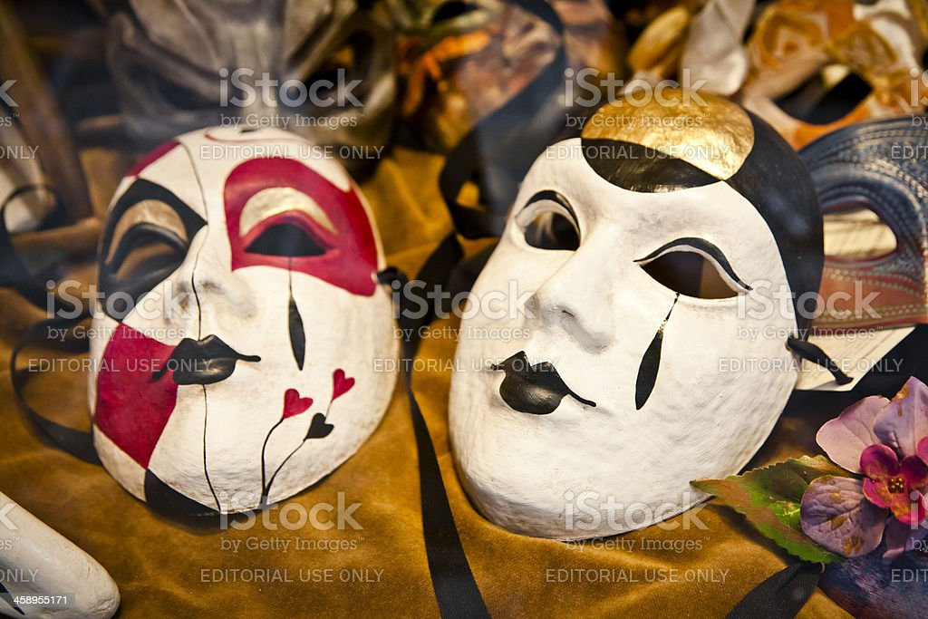 Carnival masks in a store royalty-free stock photo