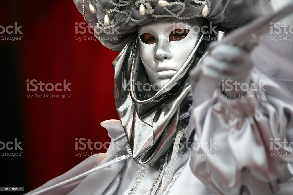 carnival mask:silver royalty-free stock photo