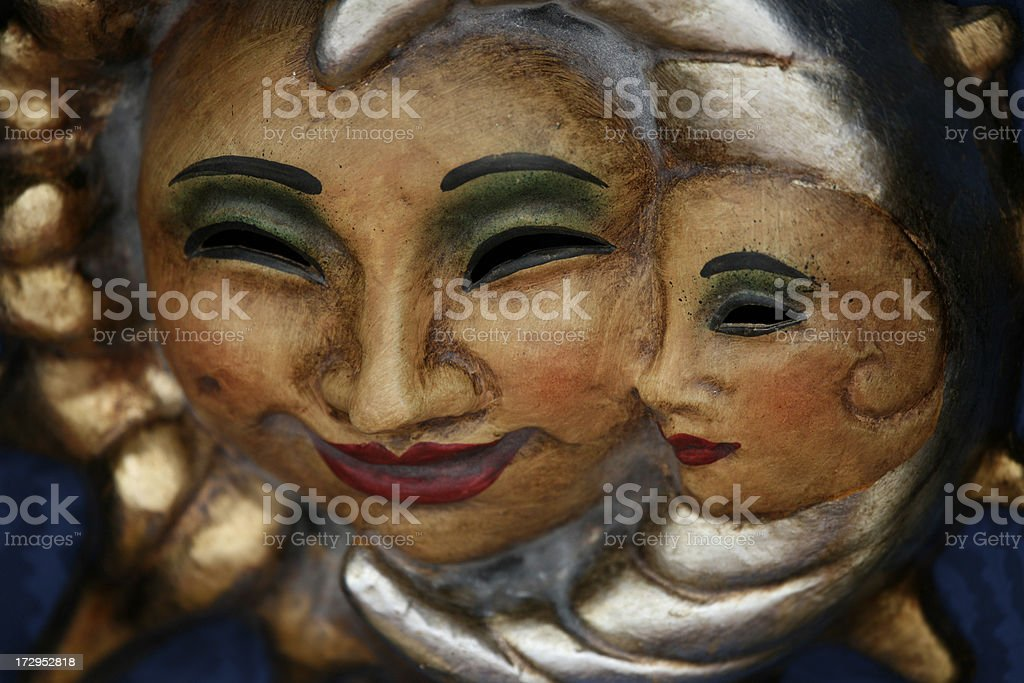 carnival mask:sun and moon royalty-free stock photo