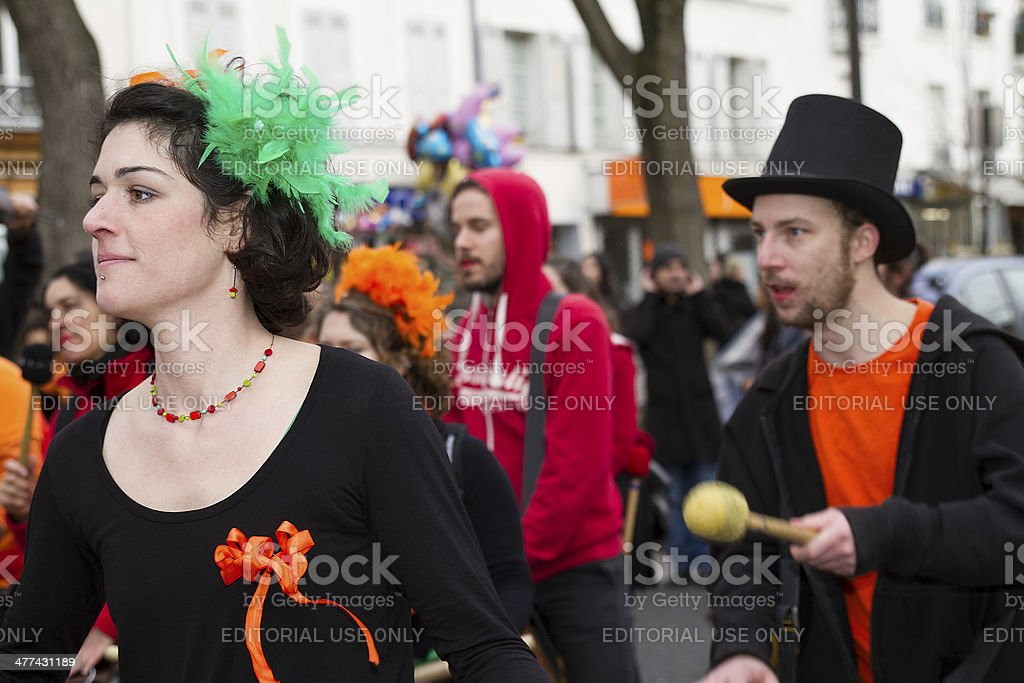 Carnival of Paris, Young woman disguised as elfe royalty-free stock photo