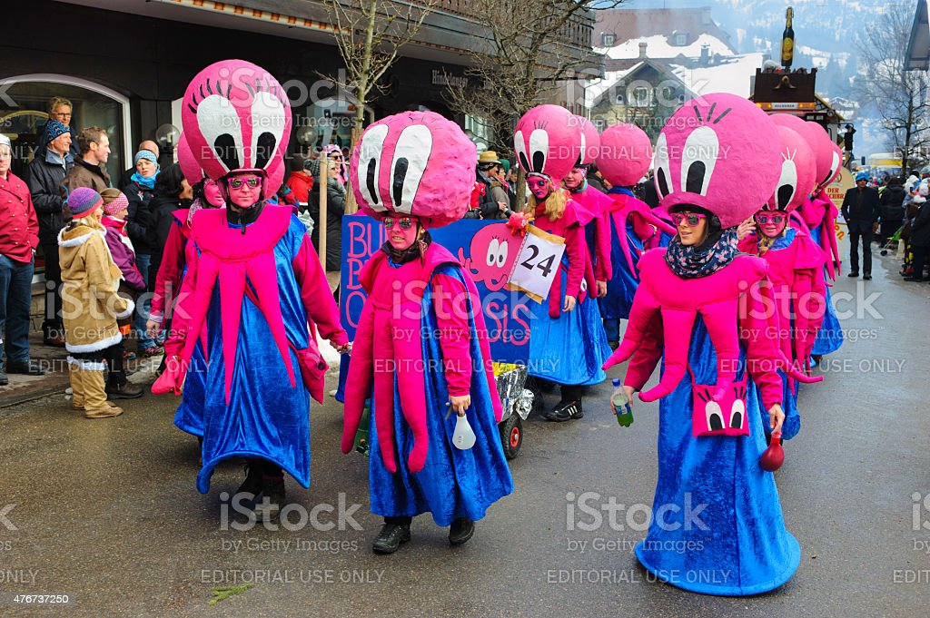 Carnival parade in Germany with spectacularly beautiful costums stock photo