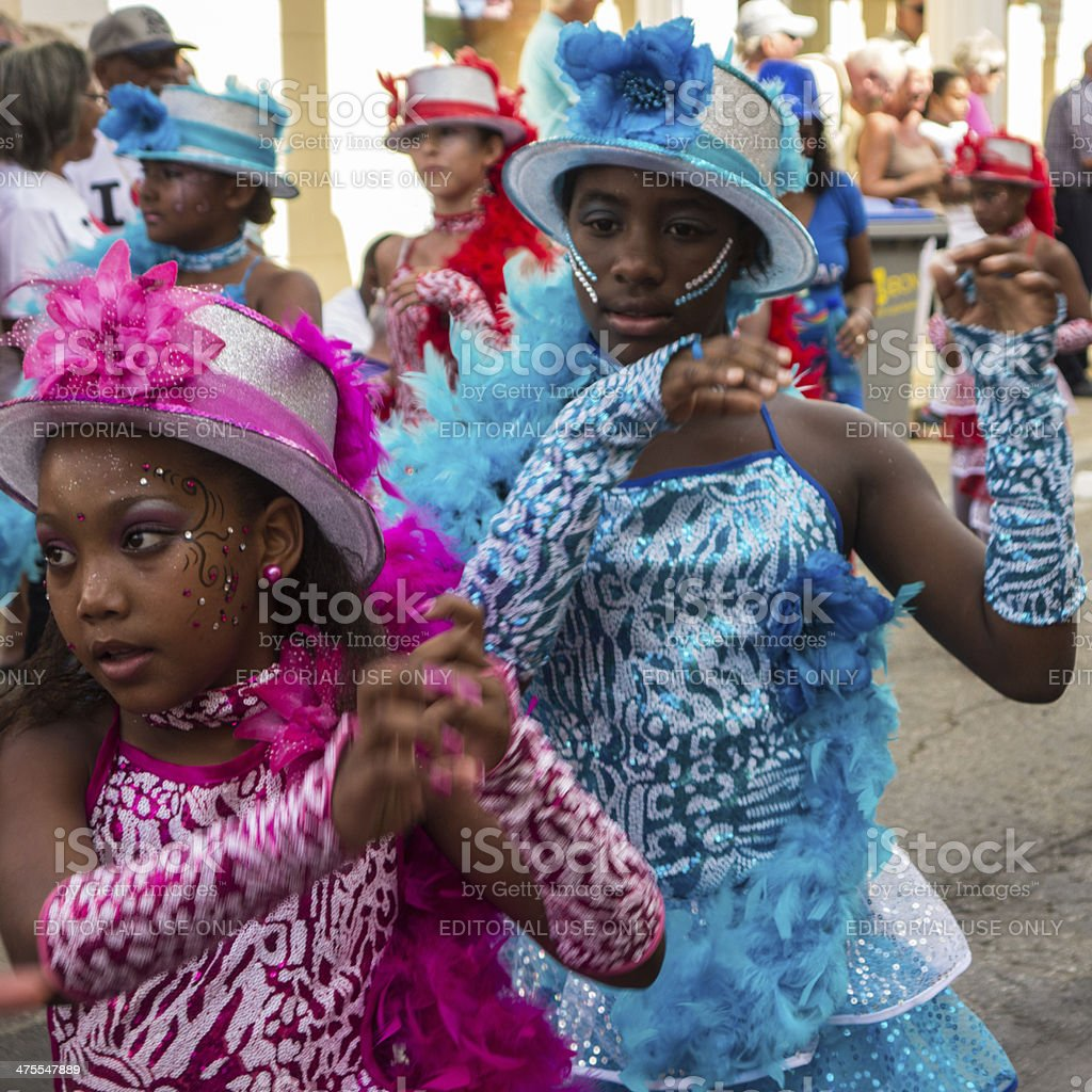 Carnival Parade Participants In Bonaire stock photo